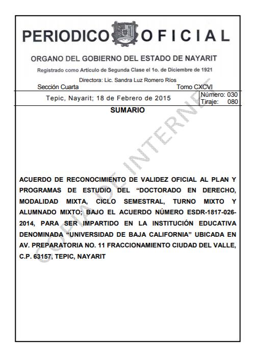 RVOE oficial: Doctorado en Derecho