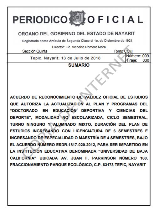RVOE oficial: Doctorado en Educación Deportiva y Ciencias del Deporte