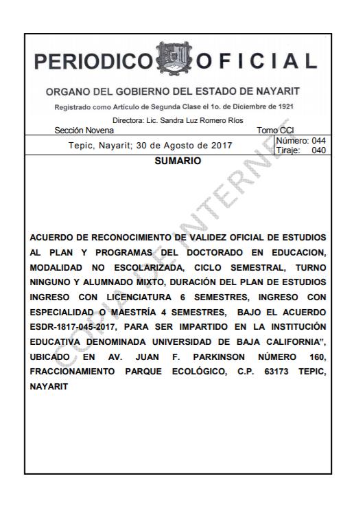 RVOE oficial: Doctorado en Educación