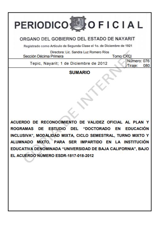 RVOE oficial: Doctorado en Educación Inclusiva