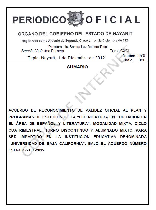 RVOE oficial: Licenciatura en Educación en el Área de Español y Literatura