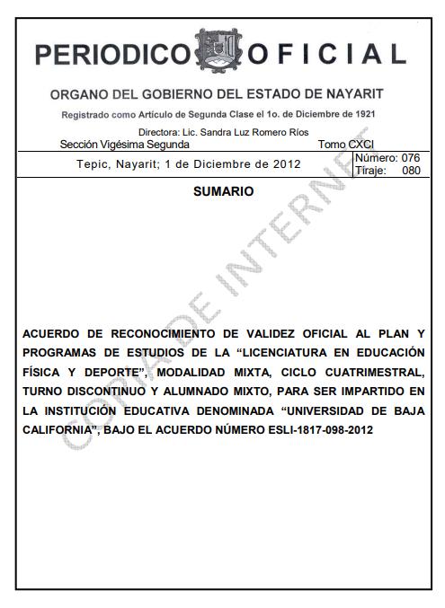 RVOE oficial: Licenciatura en Educación Física y Deporte