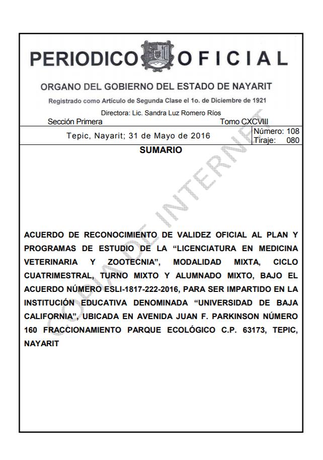 RVOE oficial: Licenciatura en Medicina Veterinaria y Zootecnia