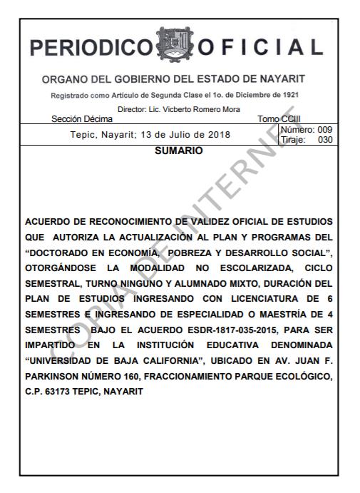 RVOE oficial: Doctorado en Economía, Pobreza y Desarrollo Social.