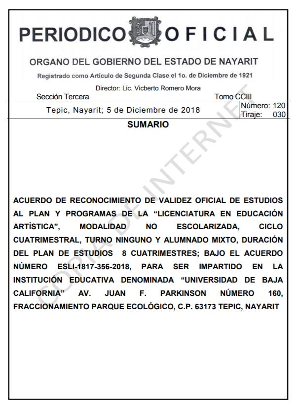 RVOE oficial: Licenciatura en Educación Artística