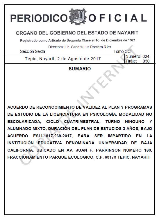 RVOE oficial: Licenciatura en Psicología