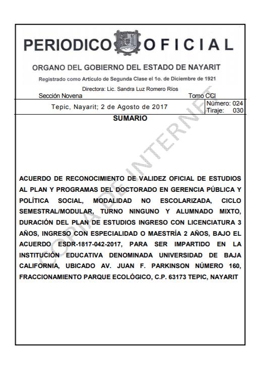RVOE oficial: Doctorado en Gerencia Pública y Política Social