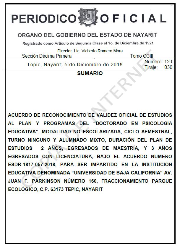 RVOE oficial: Doctorado en Psicología Educativa
