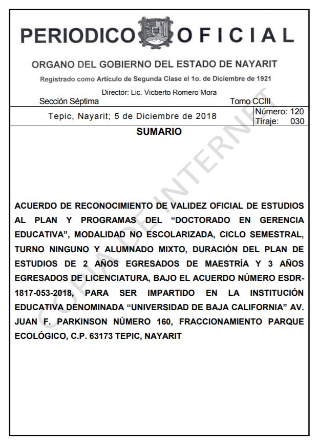 RVOE oficial: Doctorado en Gerencia Educativa