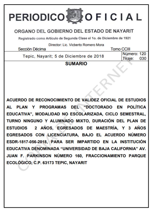 RVOE oficial: Doctorado en Política Educativa