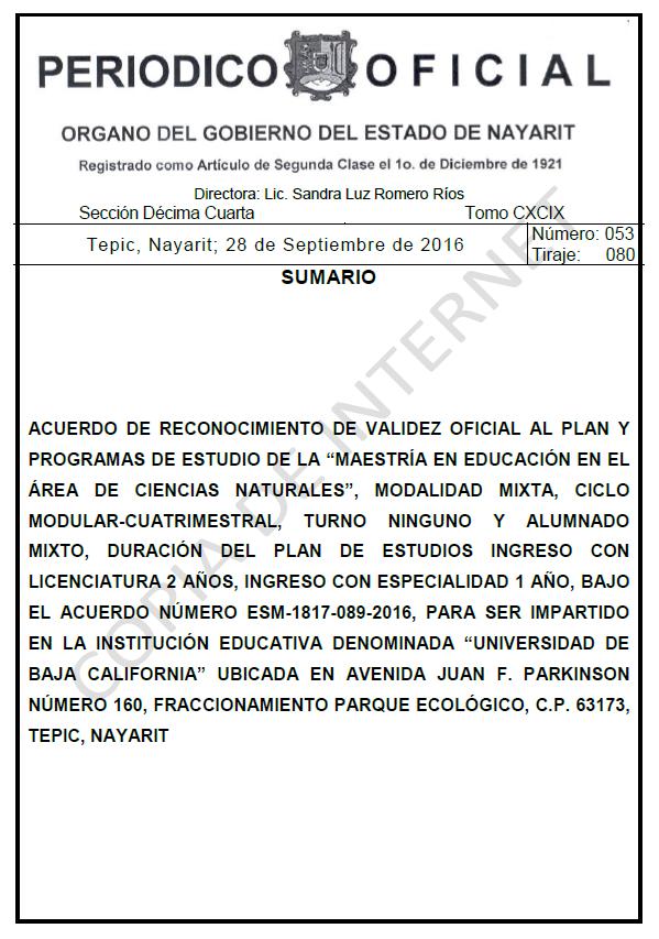 RVOE oficial: Maestría en Ciencias Naturales