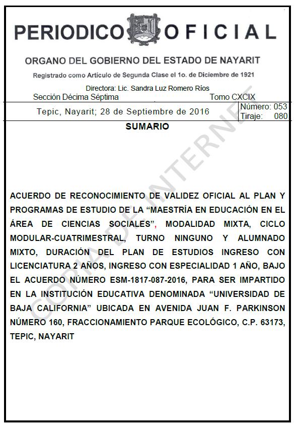RVOE oficial: Maestría en Ciencias Sociales