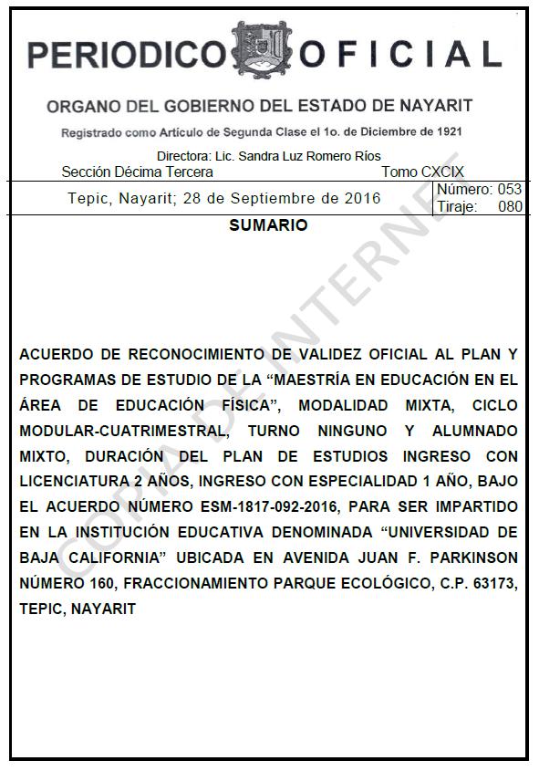 RVOE oficial: Maestría en Educación Física
