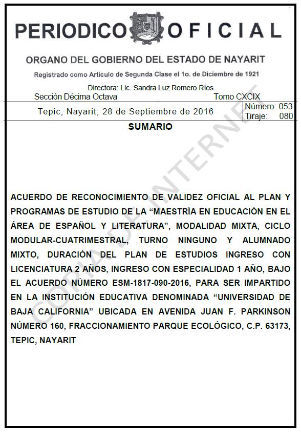 RVOE oficial: Maestría en Español y Literatura