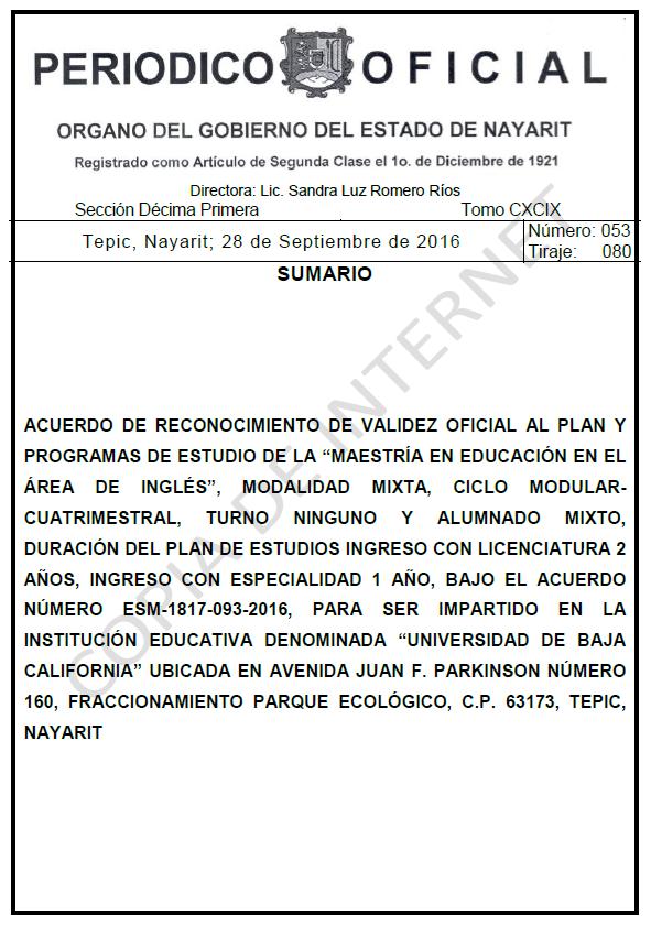 RVOE oficial: Maestría en Inglés